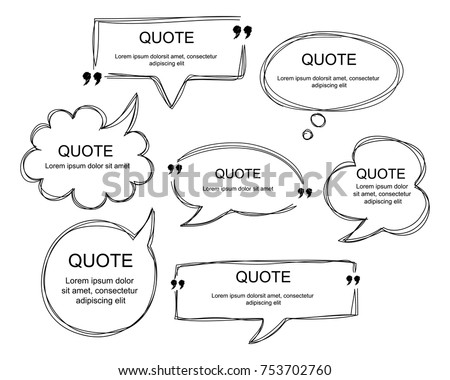 Vector collection of scribbled comic speech bubbles with hand drawn style. Copy space for quote. EPS8