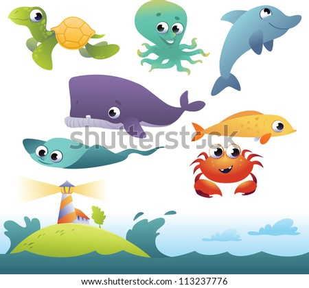 Vector collection of sea animals