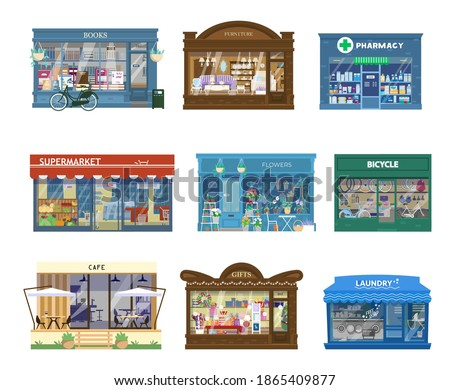Vector Collection Of Shops Buildings Exteriors. Showcases With Goods. Book Shop, Furniture Shop, Pharmacy, Supermarket, Flower Shop, Bicycle, Cafe, Gift Shop, Laundry. Isolated On White.