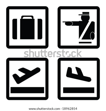 Vector collection of signs commonly used in airports: luggage claim, customs, departures and arrivals