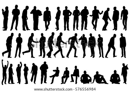 vector collection of silhouettes of men in isolation, business, sit, walk