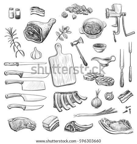 Vector collection of sketches on the theme of cooking meat. Isolated hand drawings.