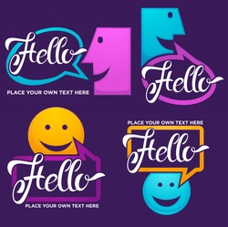 vector collection of smiling, talking, speaking, chatting and communication faces logo, icons, stickers, signs and symbols with hello word
