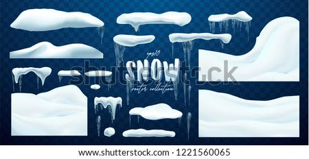 Vector collection of snow caps, pile, icicles, isolated on background, transparent, ice, snowball and snowdrift. 3d Winter decorations, Christmas, snow texture, white elements, holiday vector snow.