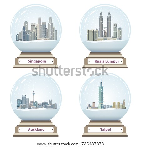 vector collection of snow globes with Singapore, Kuala Lumpur, Auckland and Taipei city skylines