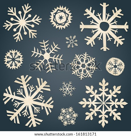 vector collection of snowflakes ...