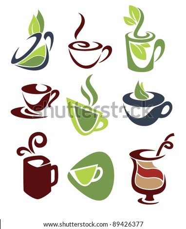 vector collection of stylized images of coffee or tea cups