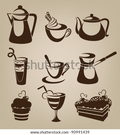 vector collection of tea coffee and  cakes silhouettes