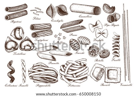 Vector collection of traditional Italian pasta with names. Hand drawn food sketch set.  Vintage illustration for cafe or restaurant design.