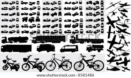 vector collection of transportation silhouettes