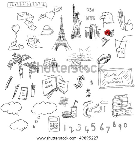 vector collection of travel and education symbols