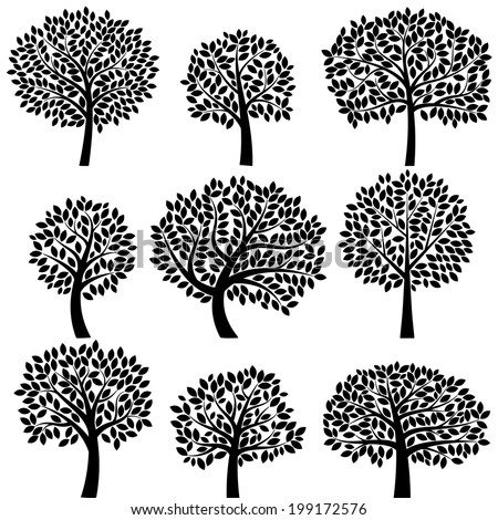 vector collection of tree