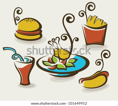 vector collection of unhealthy fast food - stock vector