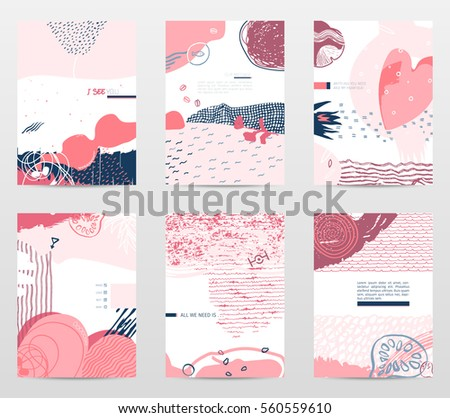 Vector collection of unusual stylish artistic posters for saint Valentines day and others, hand drawn textures and design elements. Good for prints, posters, covers, invitations, flyers etc