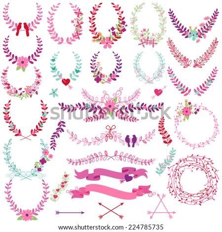 Vector Collection of Valentine's Day or Wedding Themed Laurels and Wreaths
