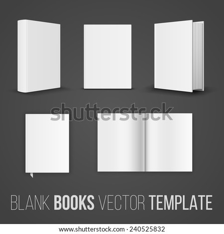 Vector collection of various blank books position template on dark background