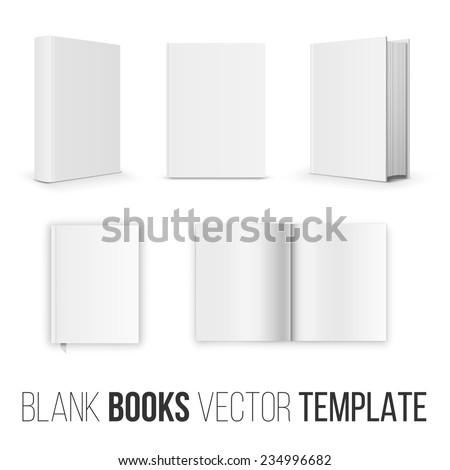 Vector collection of various blank books position  template  on white background