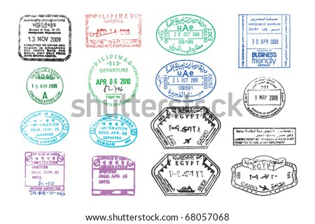 vector collection of various clear passport stamps