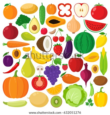 Vector collection of vegetables and fruits icons. Green organic, veggies symbols