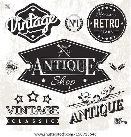 Vector Collection of Vintage Labels and Badges