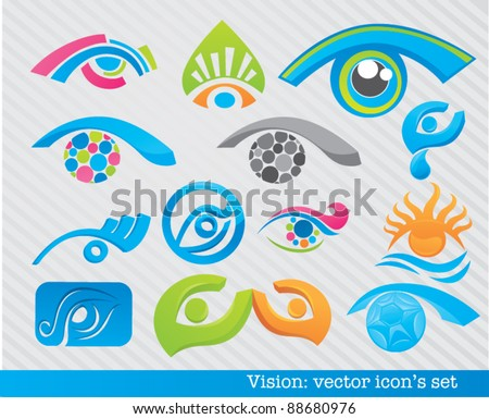vector collection of vision symbols and icons