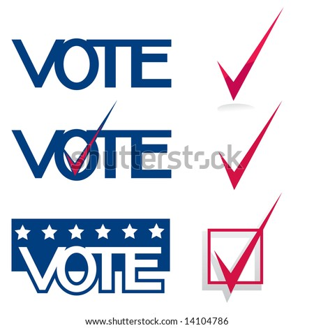 "Vector collection of ""Vote"" graphics with checkbox / checkmark symbols (VOTE Set 2)"