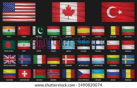 American Wavin Flag Set - Download Free Vectors, Clipart