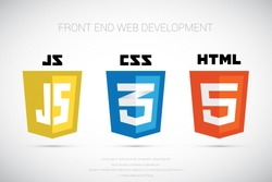 vector collection of web development shield signs: html5, css3 and javascript