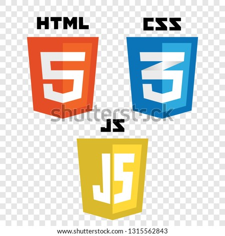 vector collection of web development shield signs: html5, css3 and javascript.