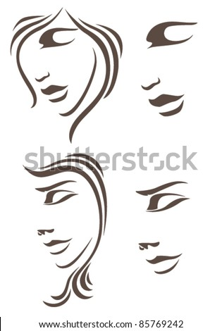 vector collection of woman faces