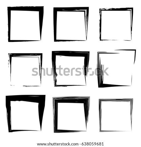 Royalty Free Grunge Paint Square Vector Elements Set 286409330