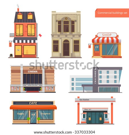 Vector collection Public,Town Buildings.Bank, Hotel/Hostel, Shop, Cinema, Hospital, Restaurant/Cafe, Gas Station.Flat style