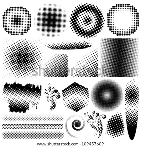 Vector collection set of different abstract halftone art elements. Jpeg version also available in gallery.