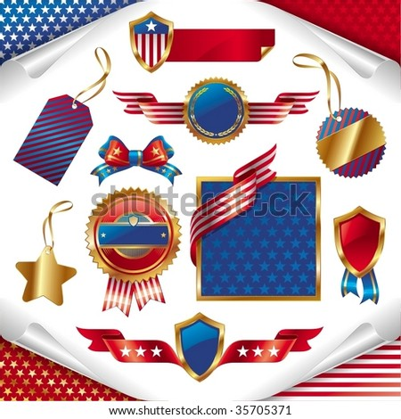 Vector collection: usa patriotic signs, labels, tags and emblem
