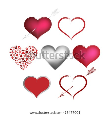 Vector collection Valentines hearts