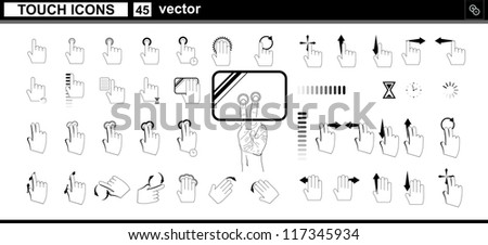 Vector collection web icons. Hand touchscreen interface