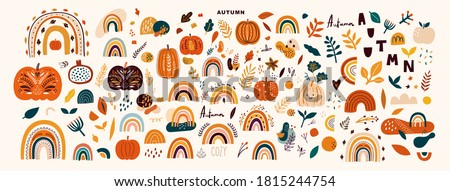 Vector collection with autumn symbols and elements. Autumn pumpkins and Rainbows stock photo