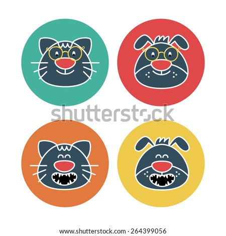Vector collection with funny cats and dogs in round labels