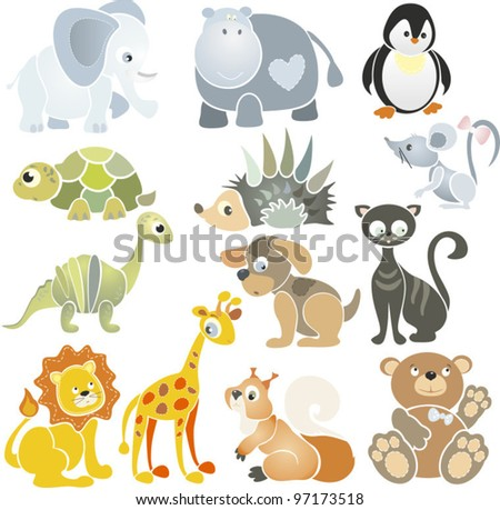 Vector collection with images for decoration of pages and greetings with different animals