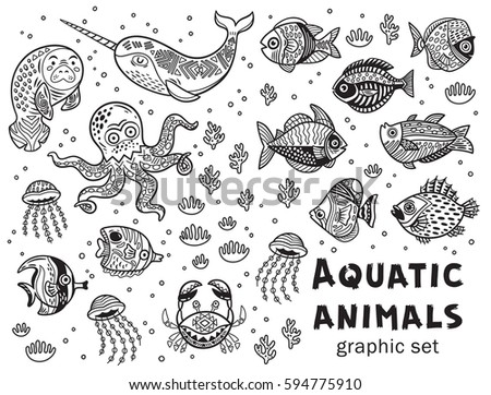 vector collection with octopus