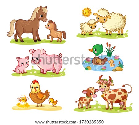 Vector collection with pets and their children. Big set on a farm theme in cartoon style with mom and baby horse, cow, pig on a white background.