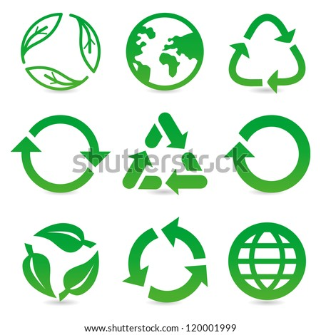 vector collection with recycle signs and symbols in green color