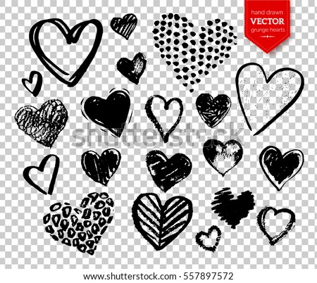 Vector collections of hand drawn grunge Valentine hearts isolated on transparent background.