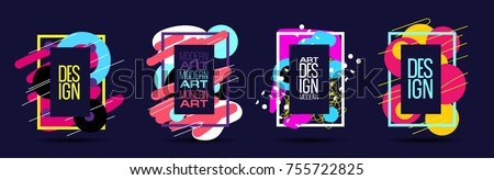 vector color abstract background in pop art style. modern art  frame for text post modern. dynamic frame stylish geometric. element for design  business cards, invitations, gift cards, flyers brochure #755722825