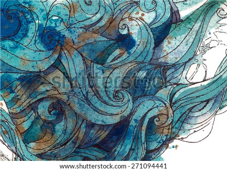 Vector color abstract hand-drawn background with waves and clouds . Ink painting. Blue color