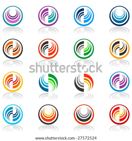 Vector color abstract icons.