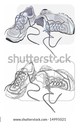 Vector color and line-art images of old sneakers.
