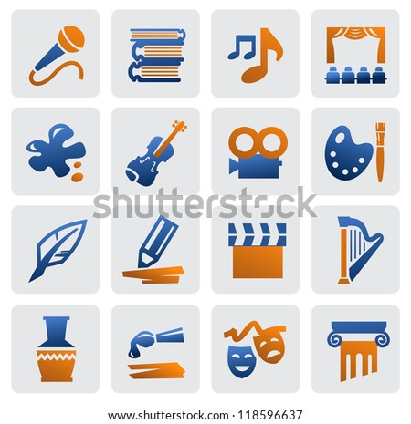 vector color arts icon set on gray