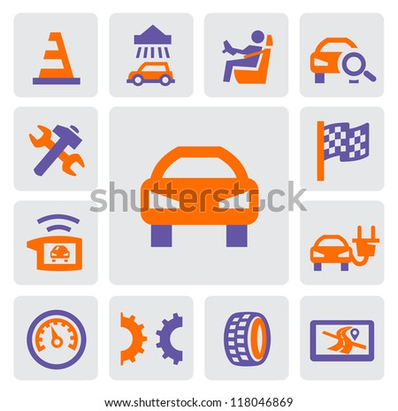 vector color auto and repair icons set on gray