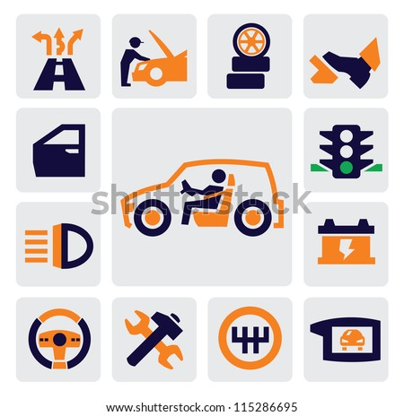 Vector color auto icons set on gray